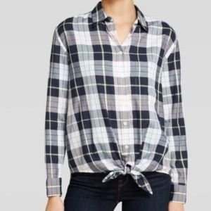 Equipment Femme Daddy Tie Front plaid top